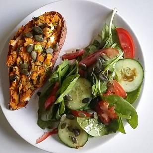 http://www.staceyhomemaker.com/twice-baked-sweet-potatoes-with-balsamic-onions-goat-cheese/